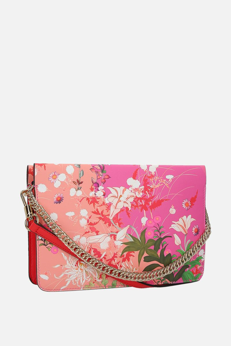 GIVENCHY: borsa a tracolla Cross3 in pelle liscia stampa floreale Colore Rosa_2