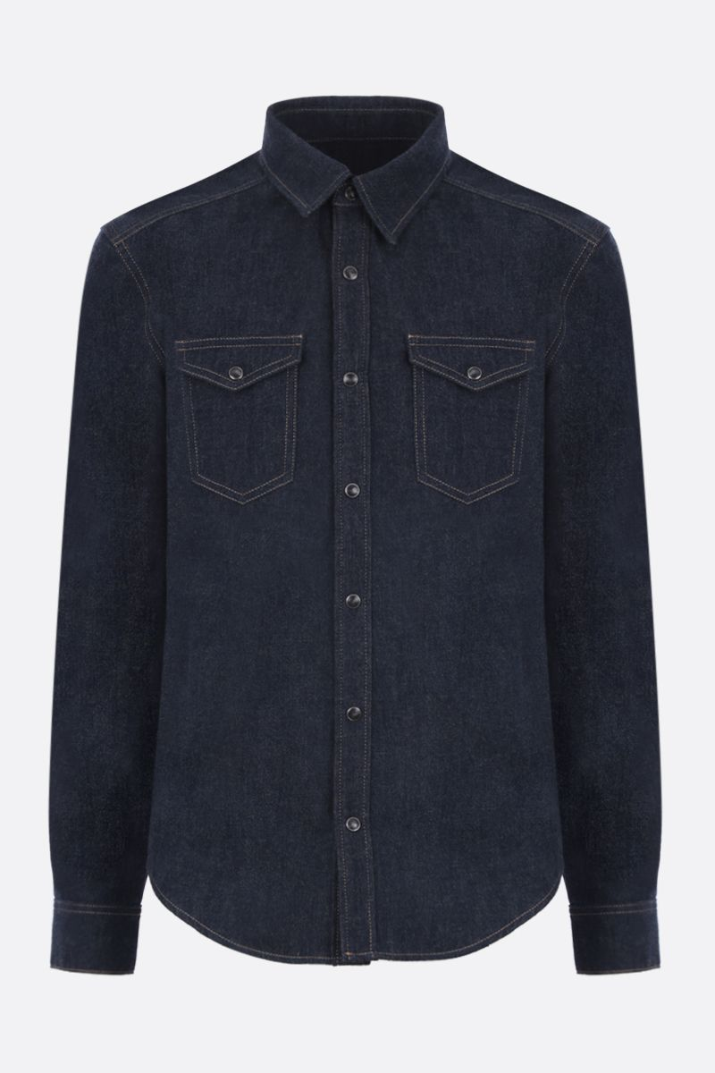 GIVENCHY: denim shirt with logoed tape Color Blue_1