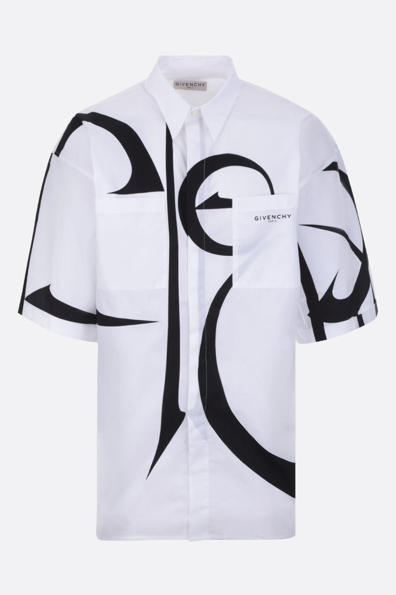 GIVENCHY: calligraphic print cotton short-sleeved shirt Color Black_1