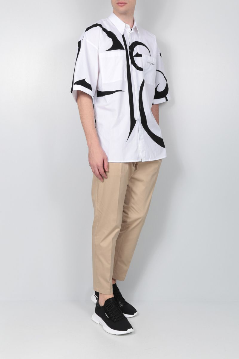 GIVENCHY: calligraphic print cotton short-sleeved shirt Color Black_2