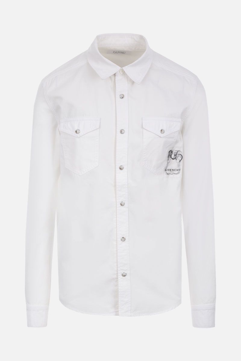 GIVENCHY: logo patch cotton western-style shirt Color White_1