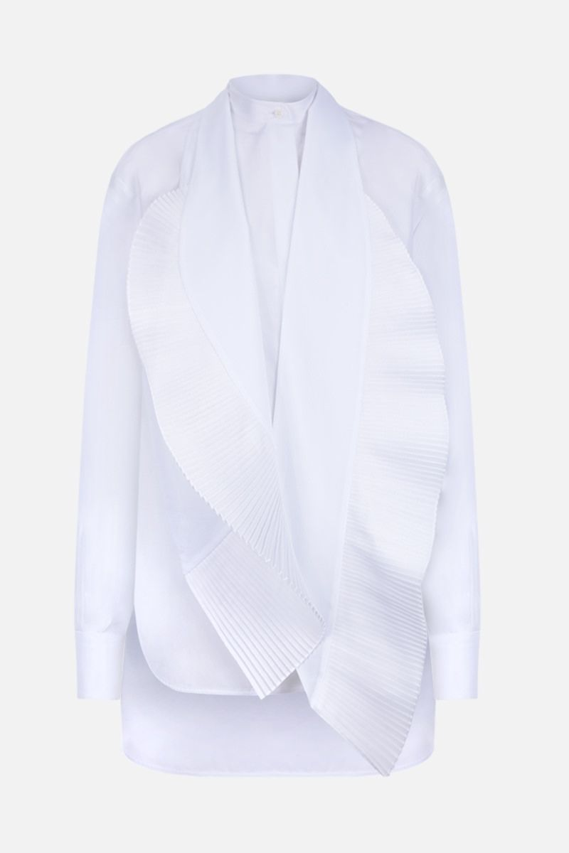 GIVENCHY: poplin shirt with pleated detail Color White_1