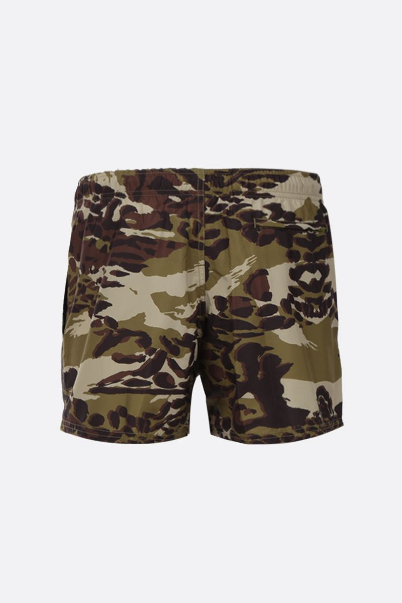 GIVENCHY: camouflage print nylon swim shorts Color Brown_2