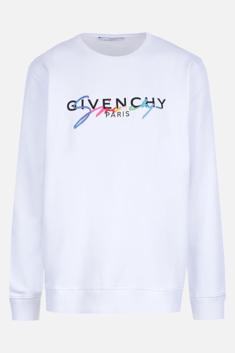GIVENCHY: Givenchy signature embroidered jersey sweatshirt Color White_1