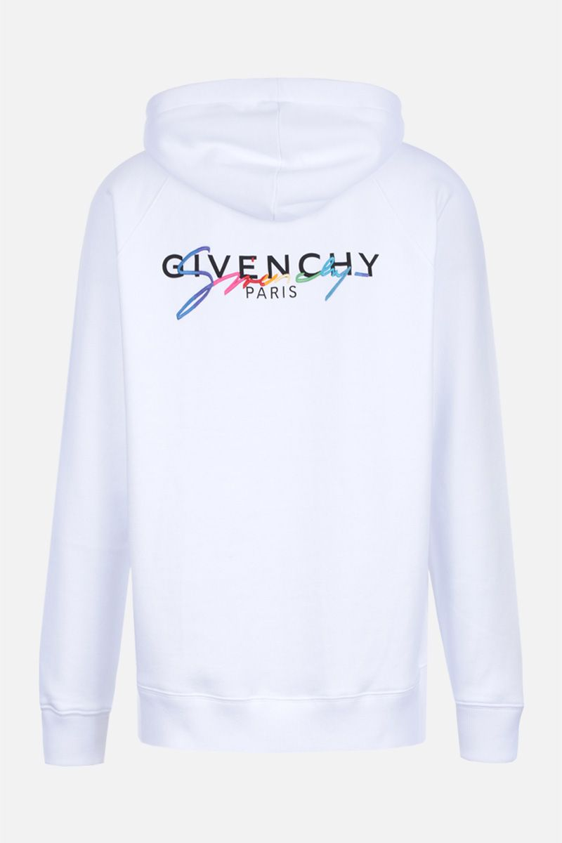 GIVENCHY: Givenchy signature embroidered jersey hoodie Color White_2
