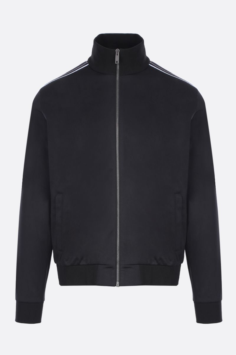 GIVENCHY: jersey full-zip sweatshirt with logoed bands Color Black_1