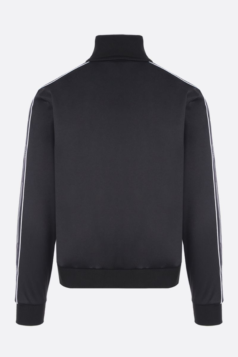 GIVENCHY: jersey full-zip sweatshirt with logoed bands Color Black_2