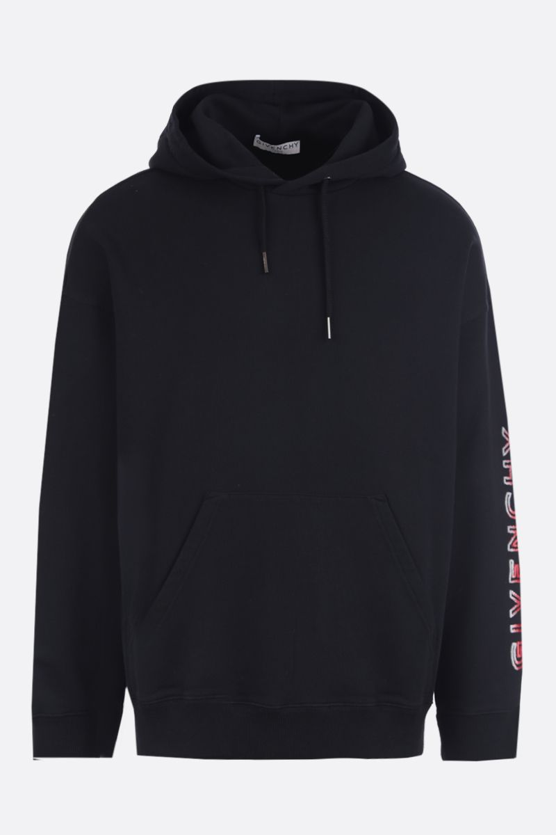 GIVENCHY: logo-detailed cotton hoodie Color Black_1