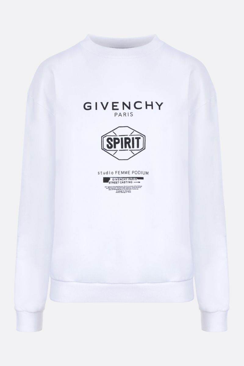 GIVENCHY: felpa in cotone stampa Givenchy Spirit Colore Bianco_1