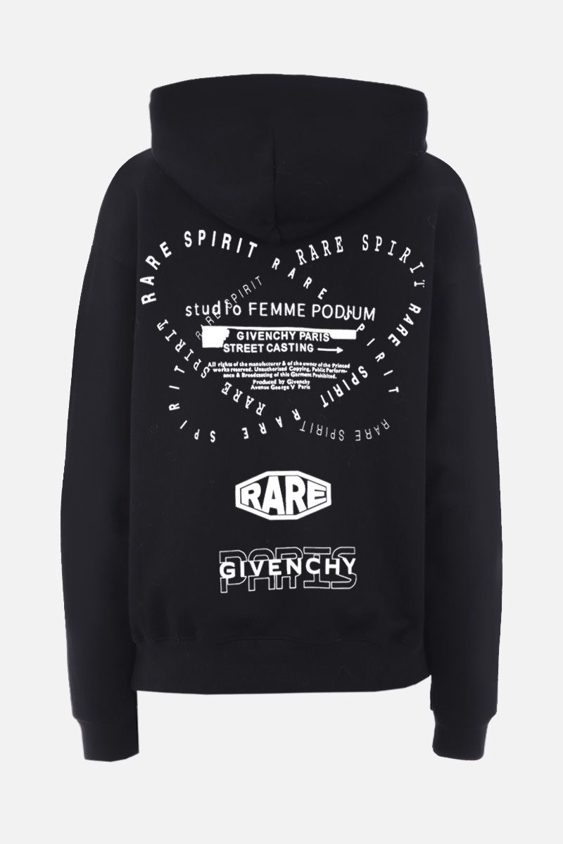 GIVENCHY: Givenchy Spirit print cotton oversized hoodie Color Black_2