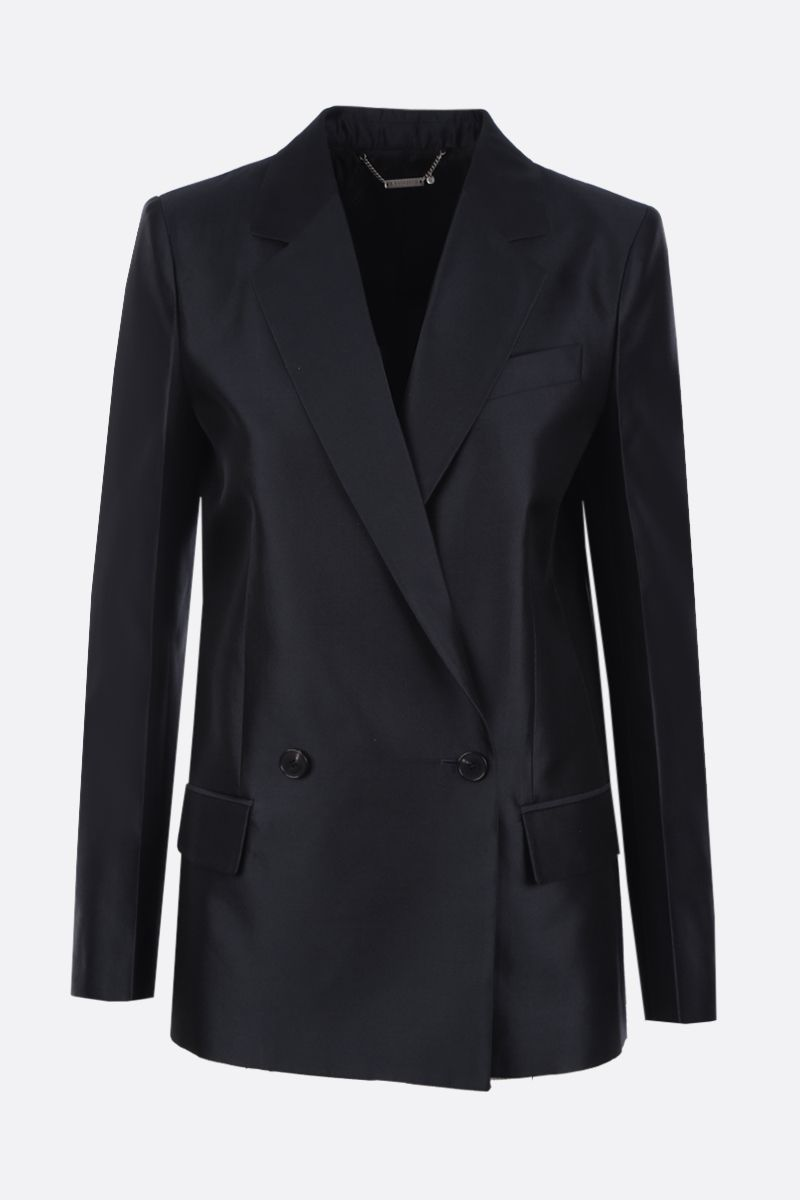 GIVENCHY: wool silk blend double-breasted jacket Color Blue_1