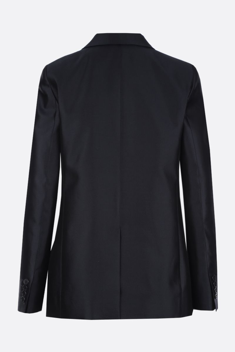 GIVENCHY: wool silk blend double-breasted jacket Color Blue_3
