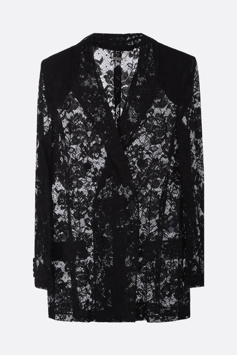 GIVENCHY: floral motif lace double-breasted jacket Color Black_1