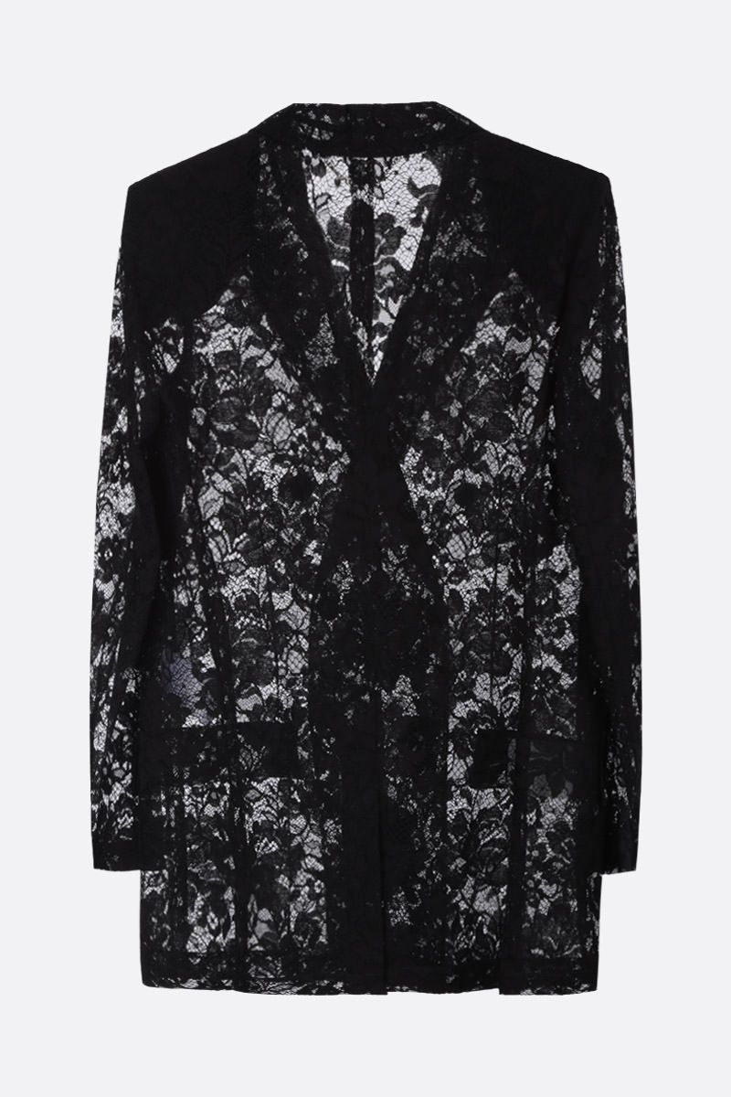 GIVENCHY: floral motif lace double-breasted jacket Color Black_2