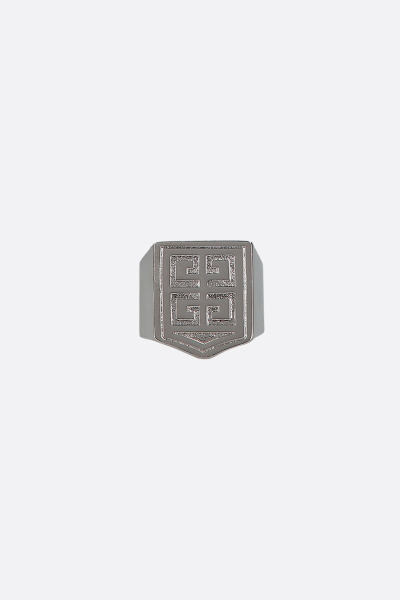 GIVENCHY: 4G signet ring in brass Color Silver_1