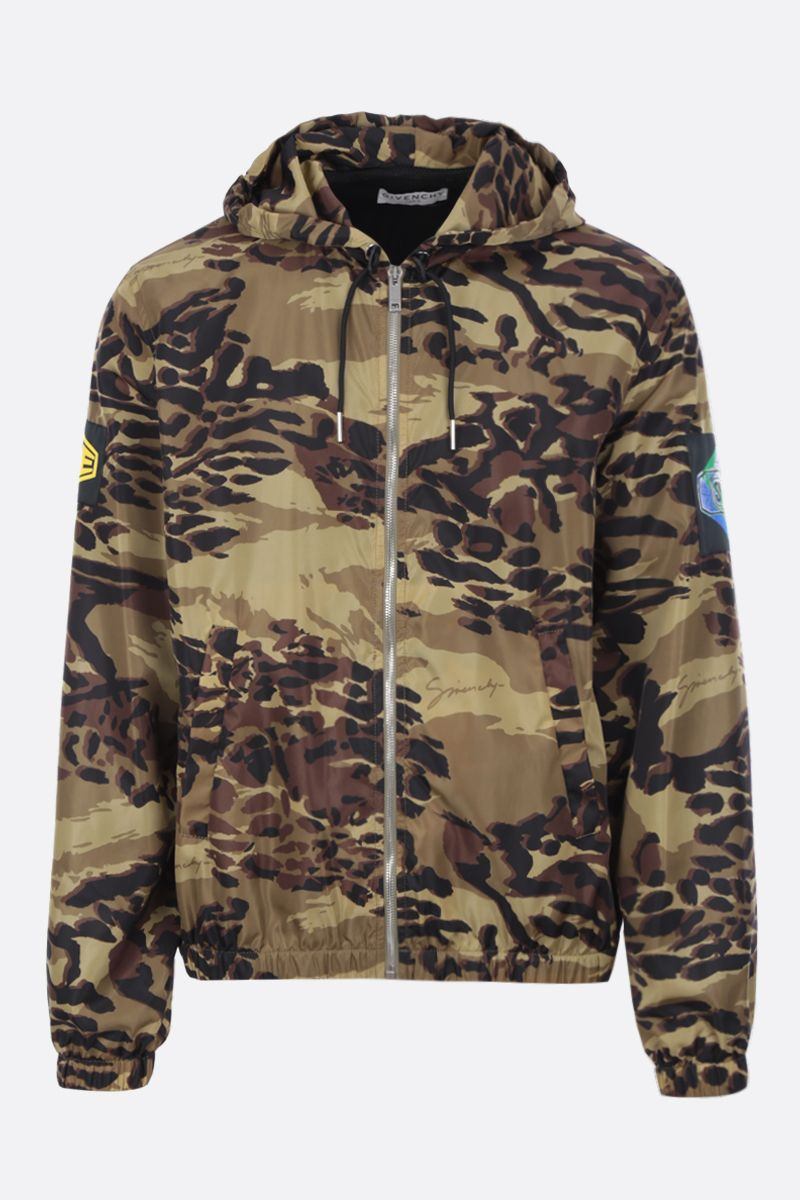 GIVENCHY: camouflage nylon windbreaker Color Brown_1
