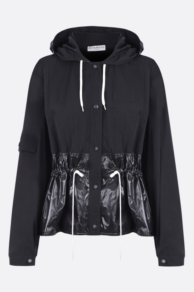GIVENCHY: nylon windbreaker with logo label Color Black_1