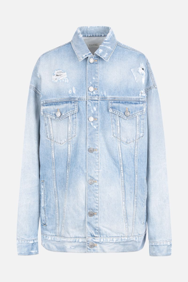 GIVENCHY: giacca oversize in denim stampa Givenchy Atelier Colore Blu_1