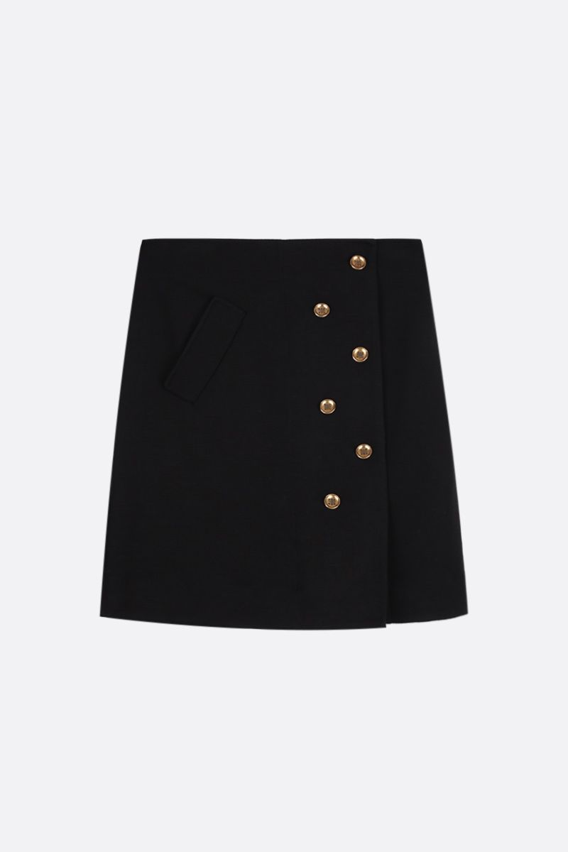 GIVENCHY: wool blend miniskirt with 4G buttons Color Black_1