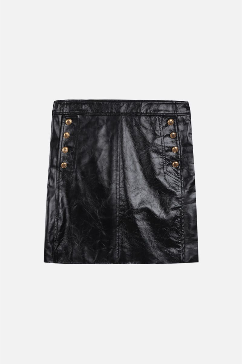 GIVENCHY: Vintage leather miniskirt with 4G buttons Color Black_1