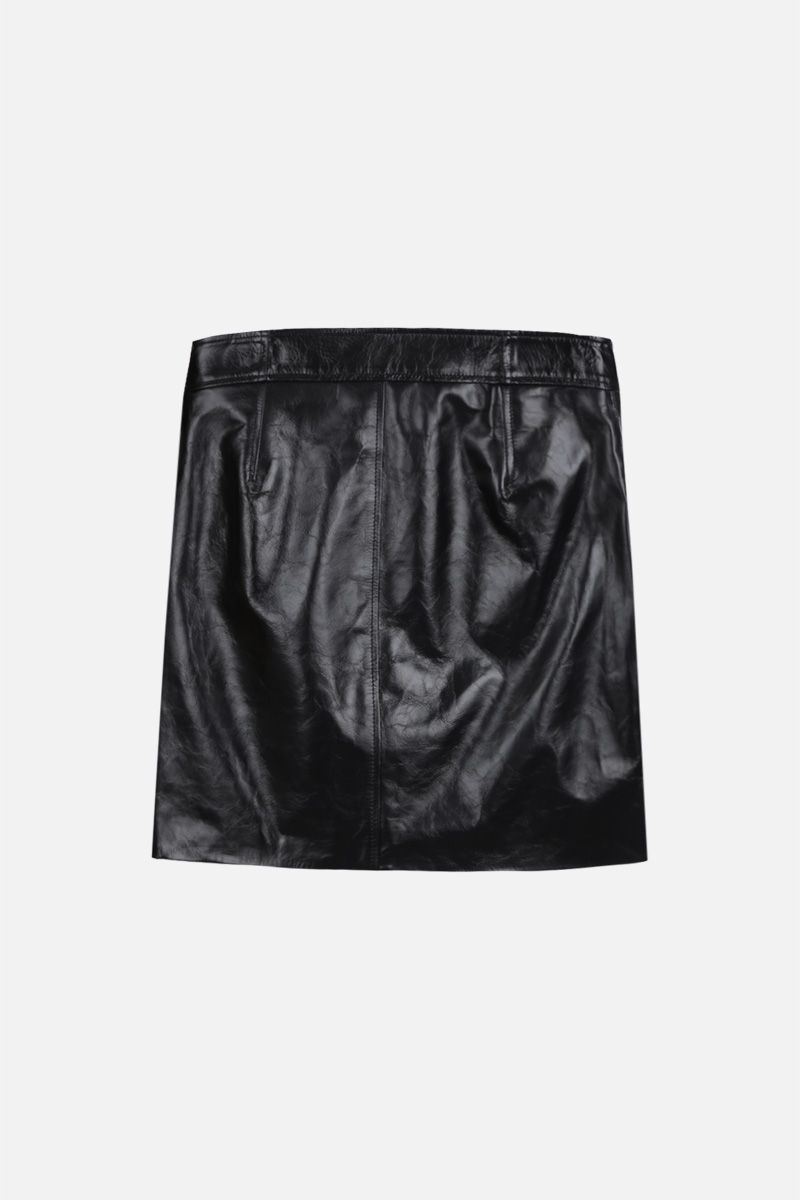 GIVENCHY: Vintage leather miniskirt with 4G buttons Color Black_2