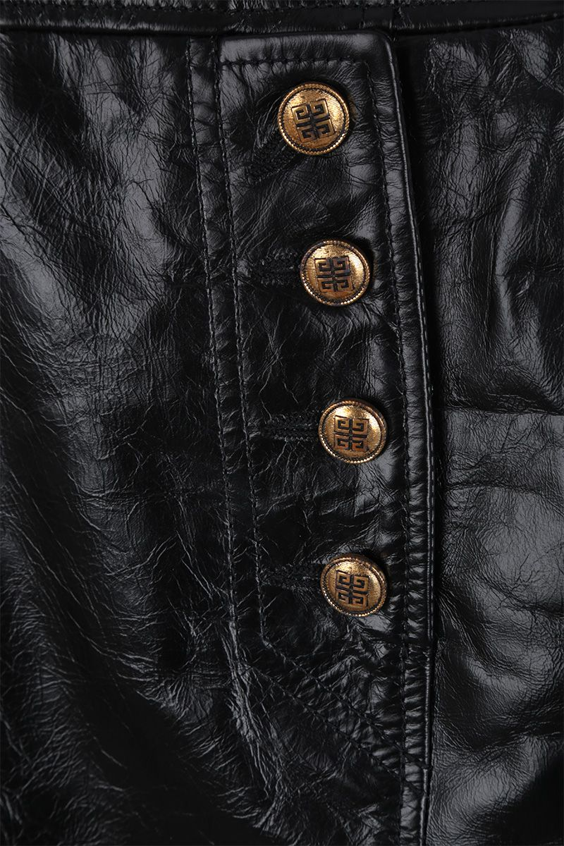 GIVENCHY: Vintage leather miniskirt with 4G buttons Color Black_3