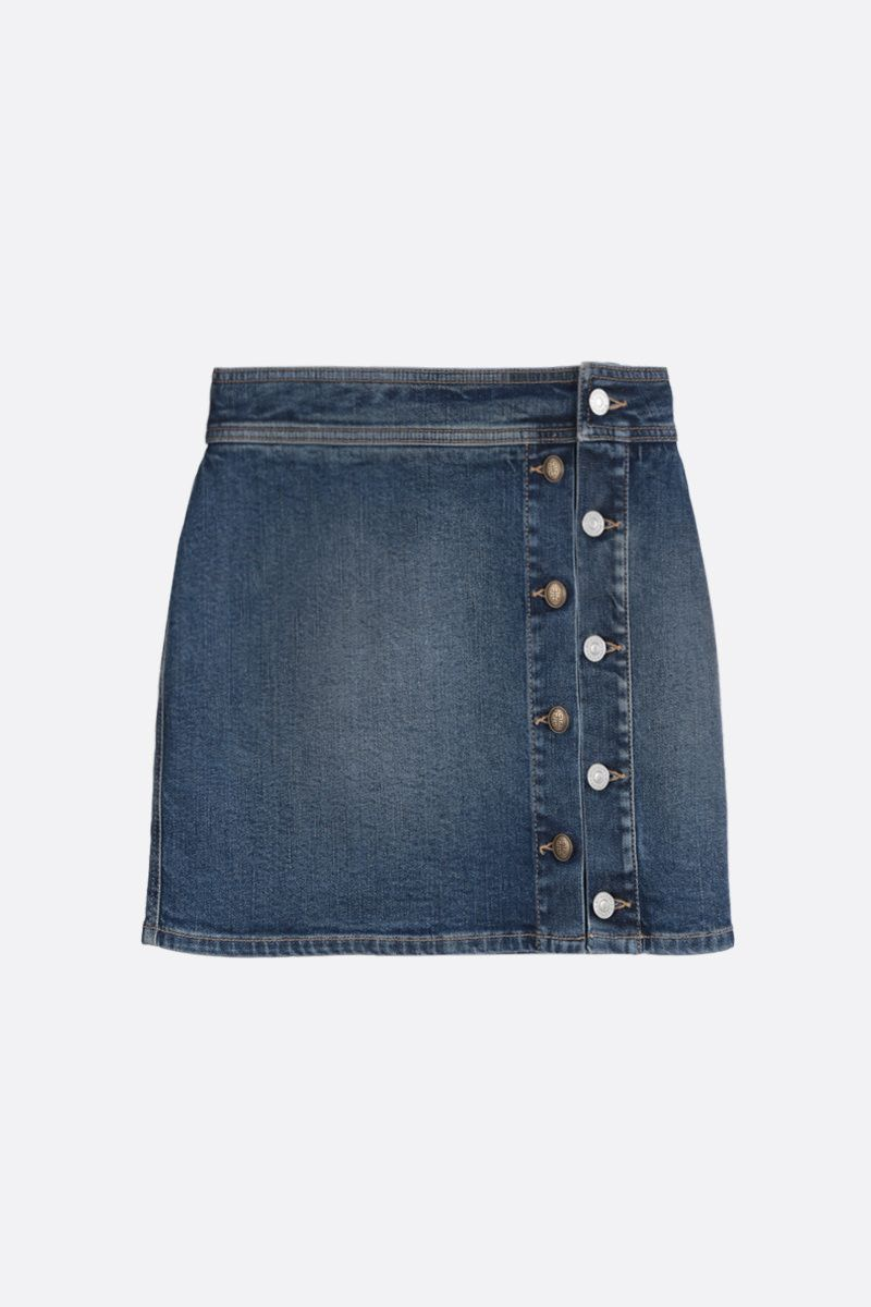 GIVENCHY: stretch denim miniskirt with 4G buttons Color Blue_1