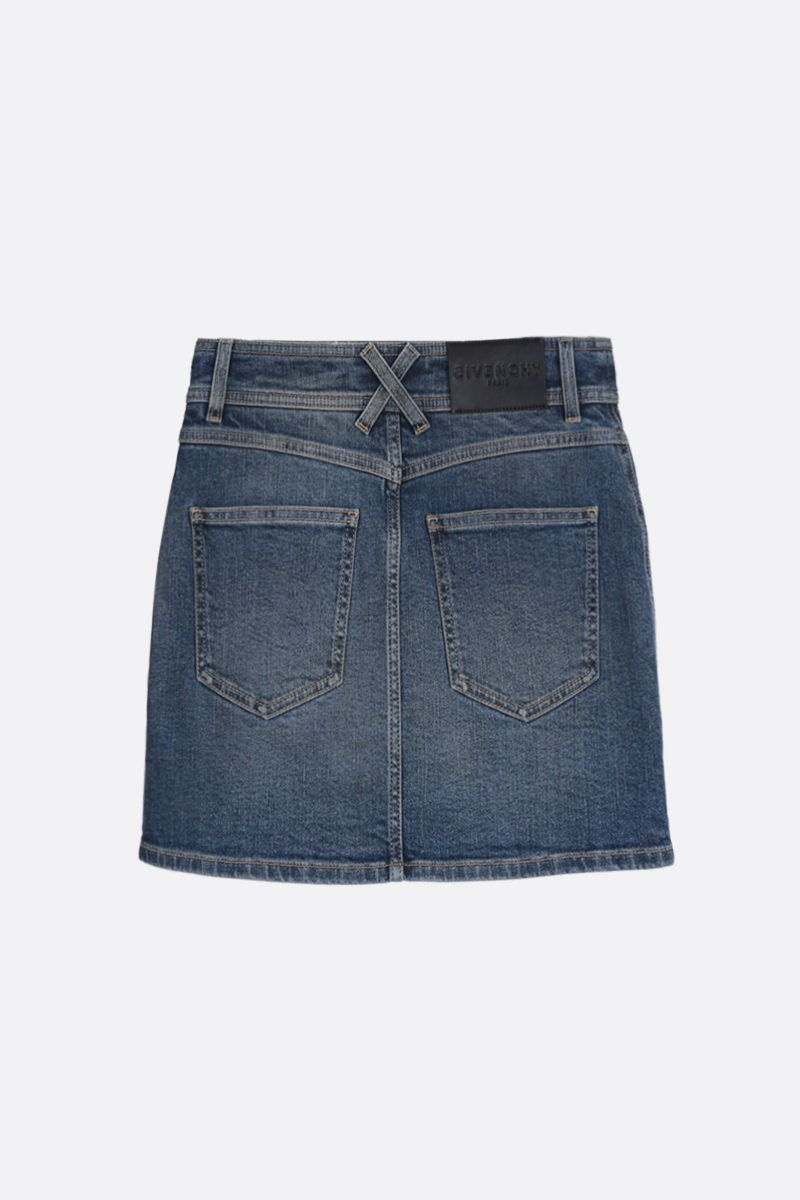 GIVENCHY: stretch denim miniskirt with 4G buttons Color Blue_2