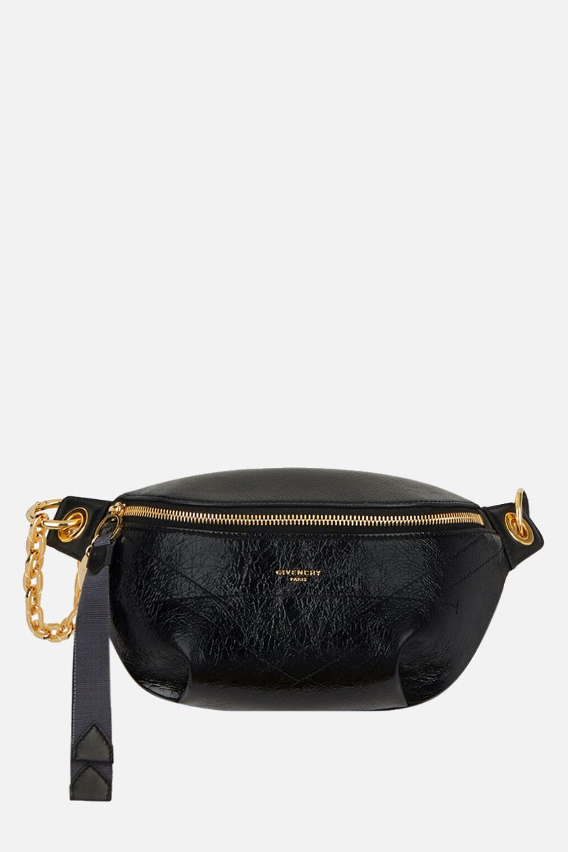 GIVENCHY: ID bumbag in crackling leather Color Black_1