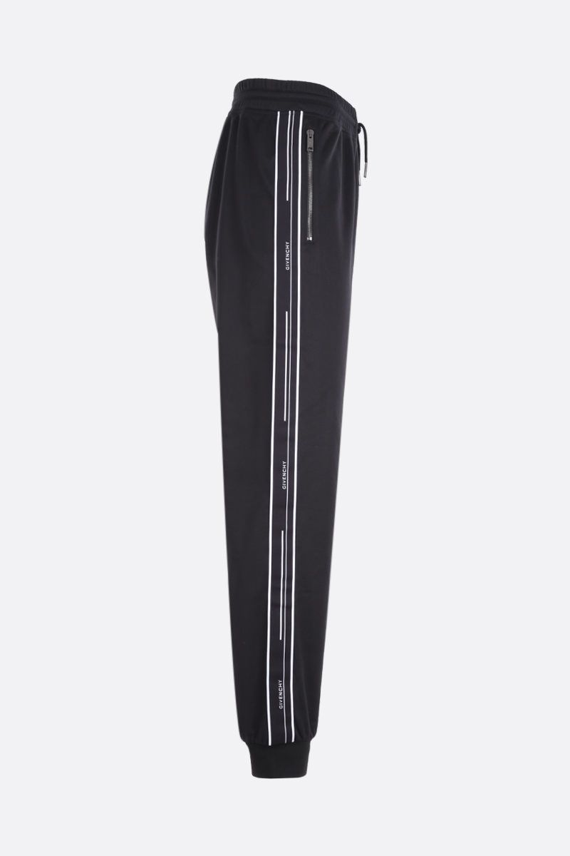 GIVENCHY: jersey joggers with logoed bands Color Black_2