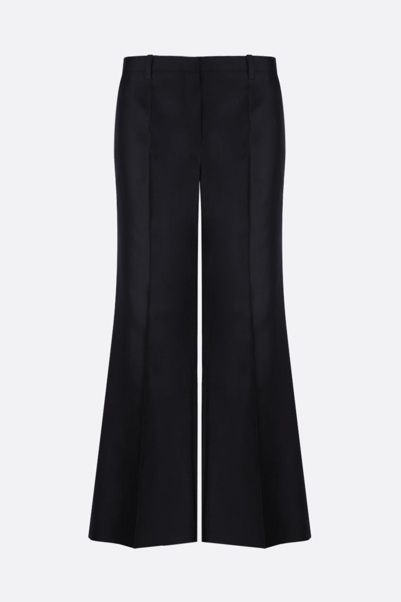GIVENCHY: wool silk blend flare pants Color Blue_1