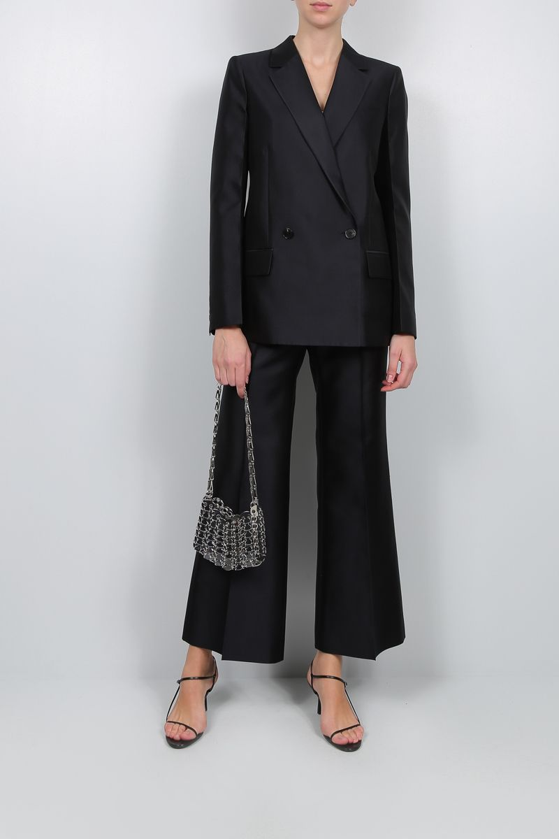 GIVENCHY: wool silk blend flare pants Color Blue_2