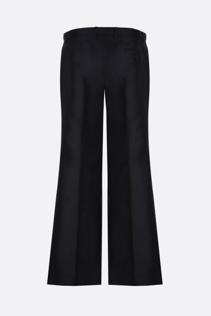 GIVENCHY: wool silk blend flare pants Color Blue_3