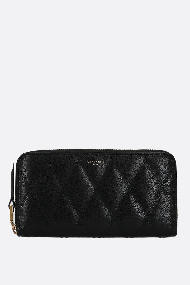 GIVENCHY: GV3 quilted leather zip-around wallet Color Black_1