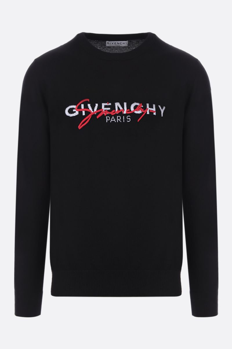 GIVENCHY: Givenchy signature embroidered wool pullover Color Black_1
