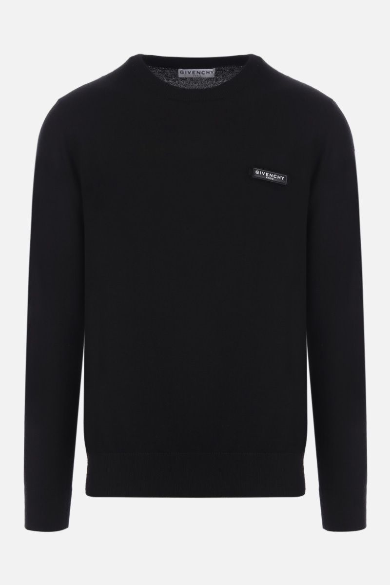GIVENCHY: logo patch wool pullover Color Black_1