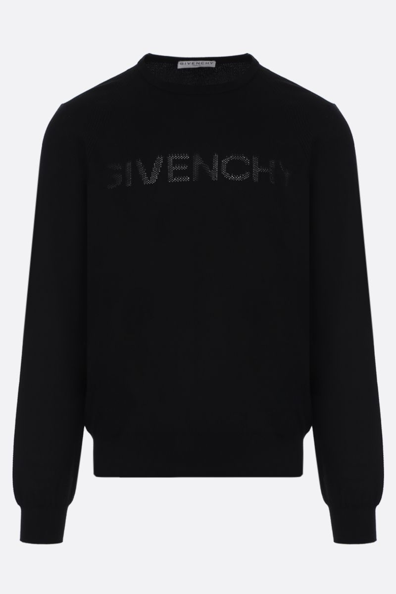 GIVENCHY: perforated logo cotton pullover Color Black_1