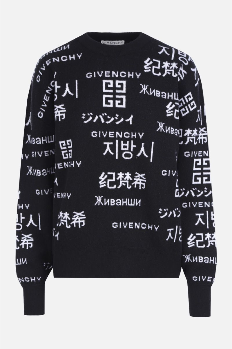 GIVENCHY: jacquard logo wool cashmere blend oversized pullover Color Black_1