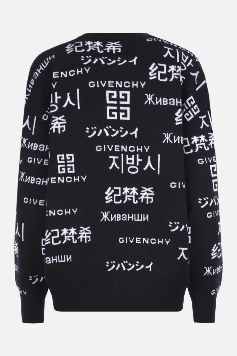GIVENCHY: jacquard logo wool cashmere blend oversized pullover Color Black_2
