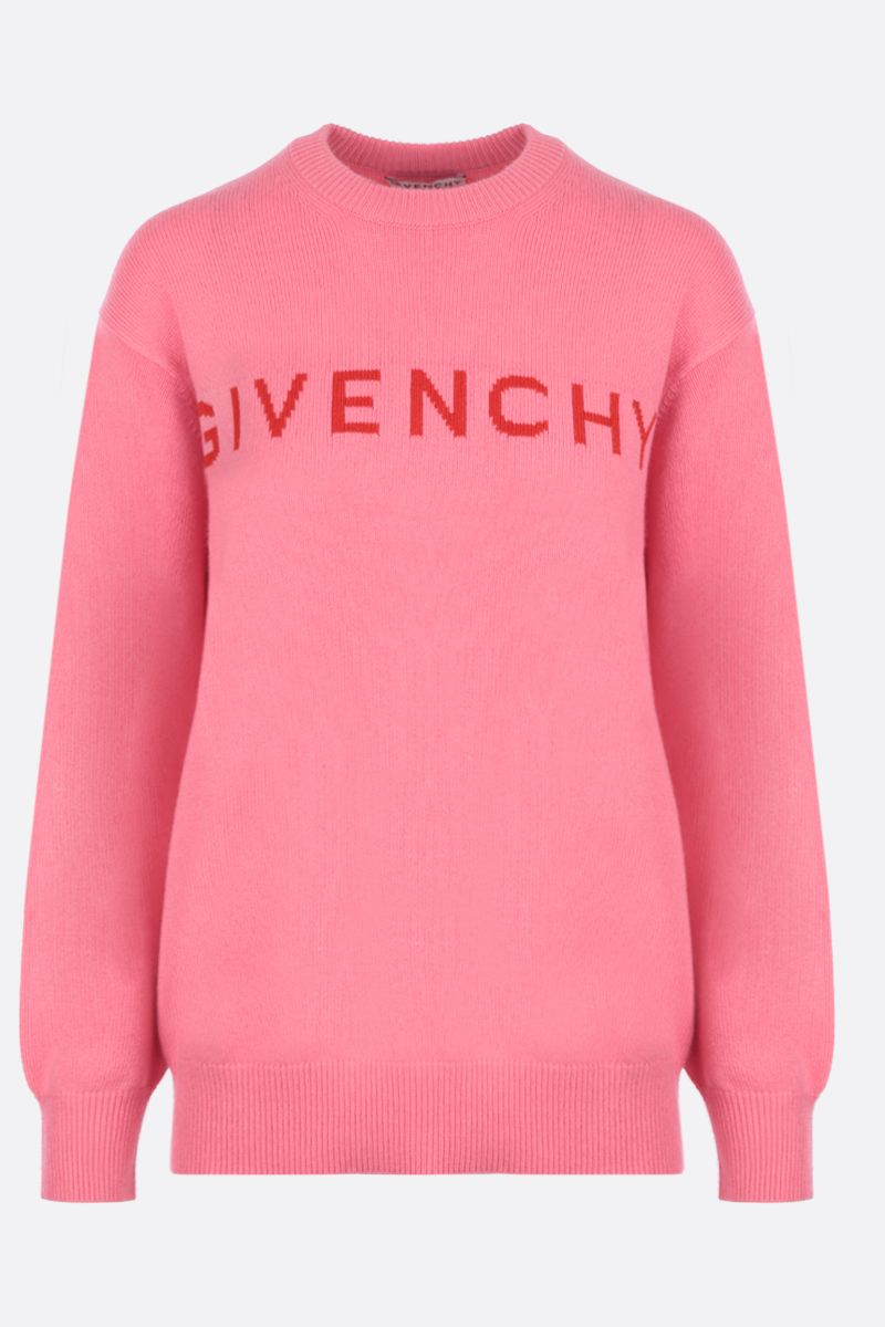 GIVENCHY: logo intarsia cashmere oversized pullover Color Red_1