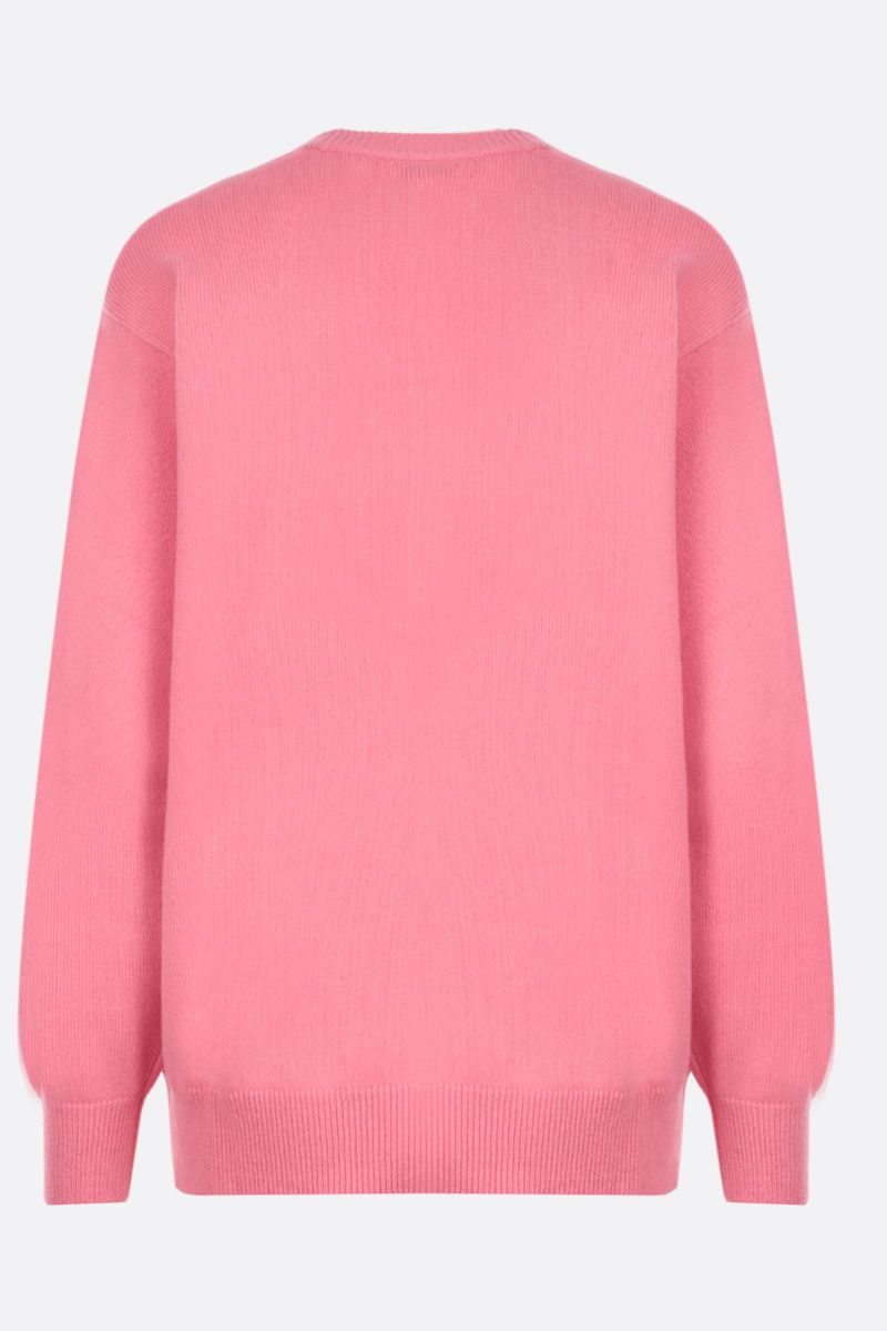 GIVENCHY: logo intarsia cashmere oversized pullover Color Red_2