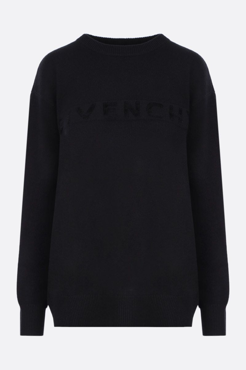 GIVENCHY: cashmere oversized pullover with texturized logo Color Black_1