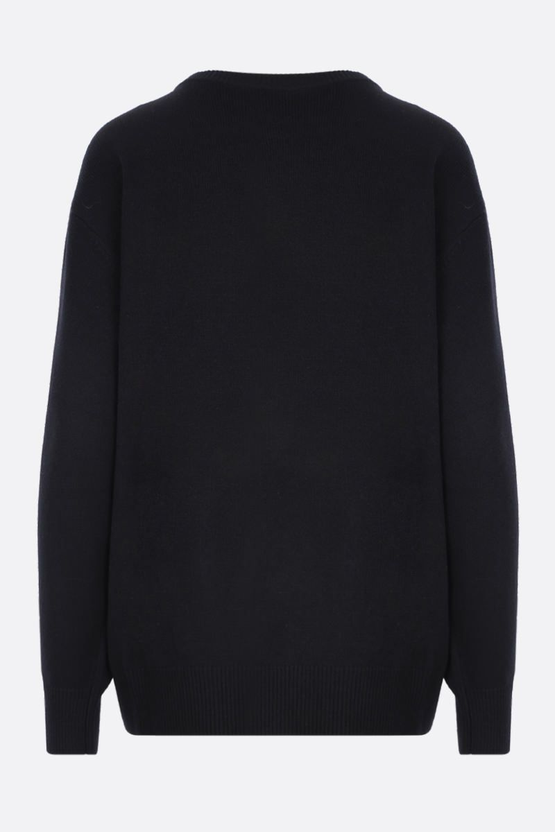 GIVENCHY: cashmere oversized pullover with texturized logo Color Black_2