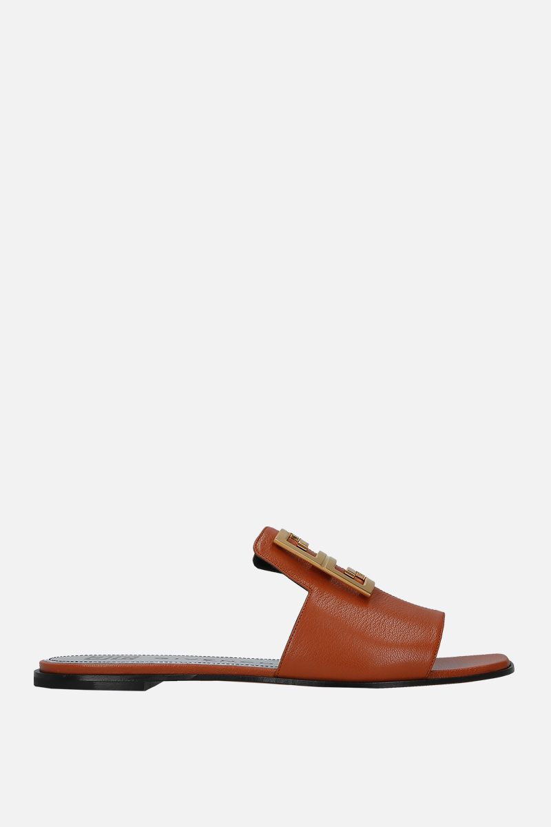 GIVENCHY: 4G flat sandals in grainy leather_1