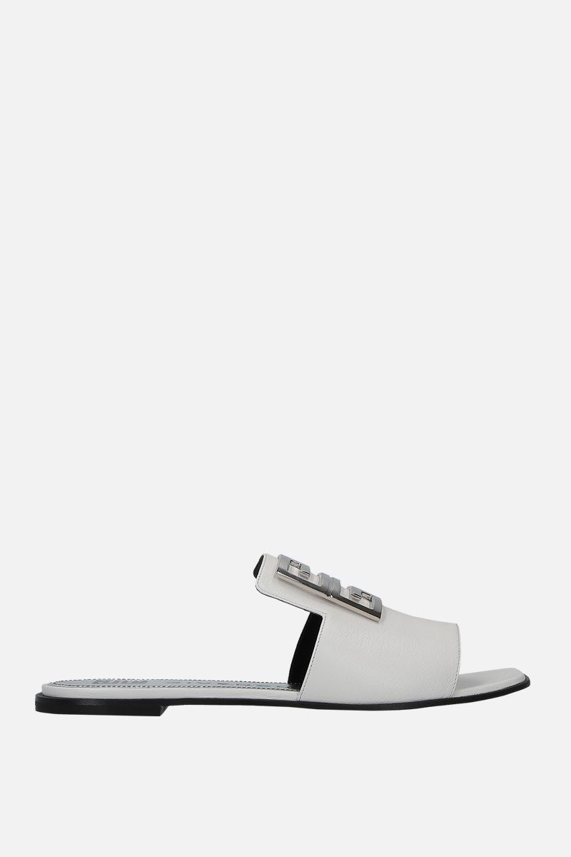 GIVENCHY: sandalo flat 4G in pelle martellata Colore Bianco_1