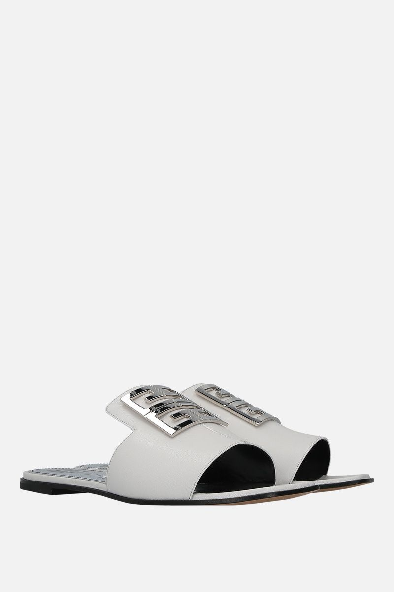 GIVENCHY: sandalo flat 4G in pelle martellata Colore Bianco_2
