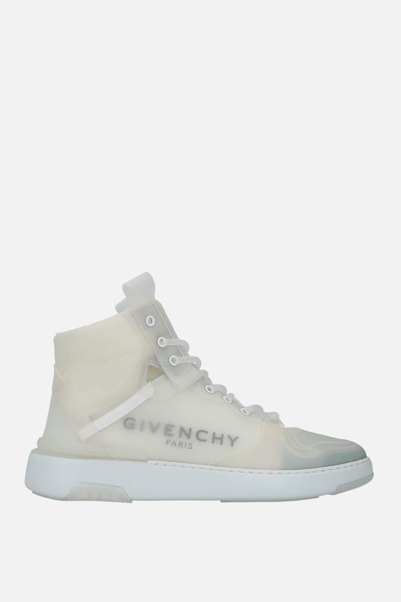 GIVENCHY: Wing high-top sneakers in translucent rubber coating Color White_1