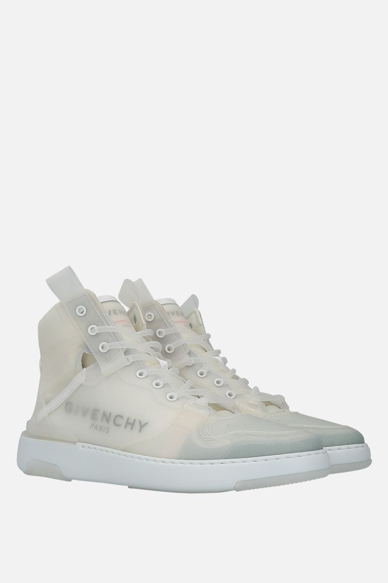 GIVENCHY: Wing high-top sneakers in translucent rubber coating Color White_2