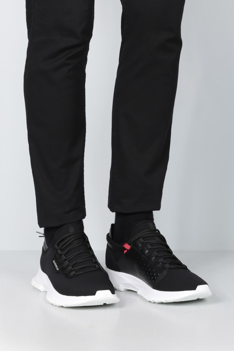 GIVENCHY: Spectre stretch knit and leather sneakers Color Black_2