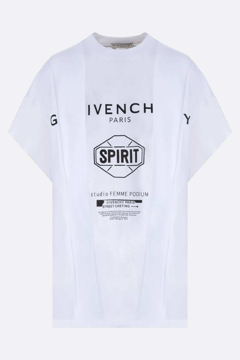 GIVENCHY: Givenchy Spirit print jersey oversized t-shirt Color White_1